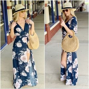 Navy Floral Romper Maxi Dress